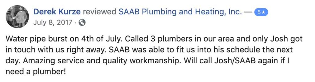 SAAB plumbing and heating inc. in Ashland, Massachusetts FaceBook Review