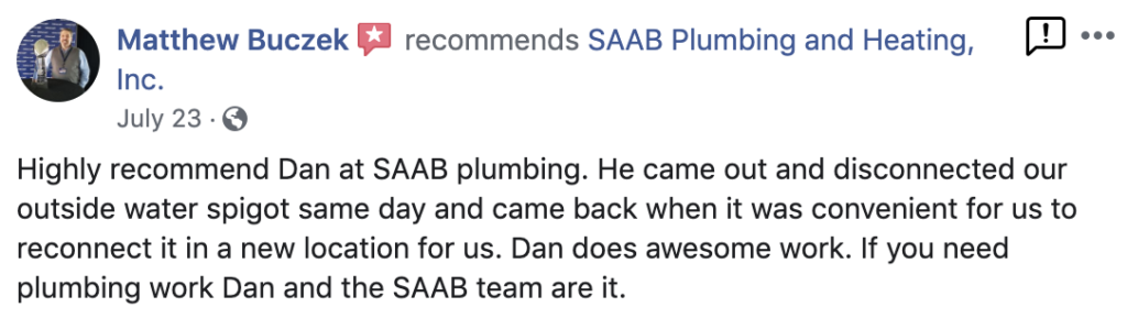 S.A.A.B. Plumbing and Heating Facebook Review